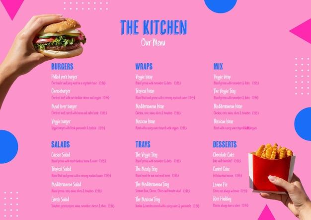 Amerikaans voedsel keuken menusjabloon Gratis Psd