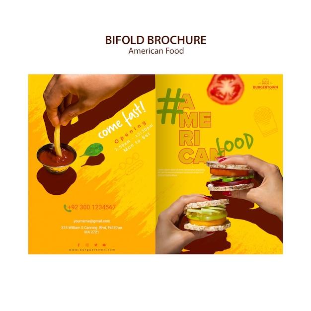 Amerikaans voedsel tweevoudig brochureontwerp Gratis Psd