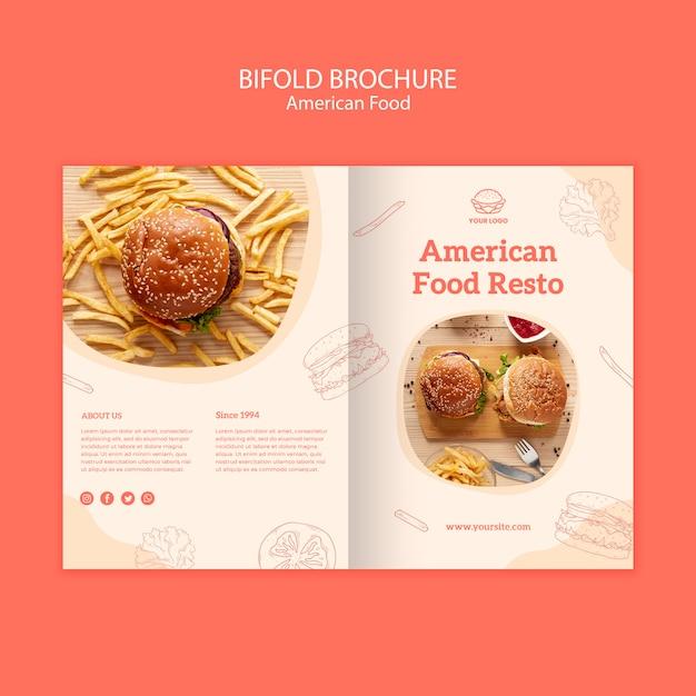 Amerikaans voedselconcept tweevoudige brochure Gratis Psd