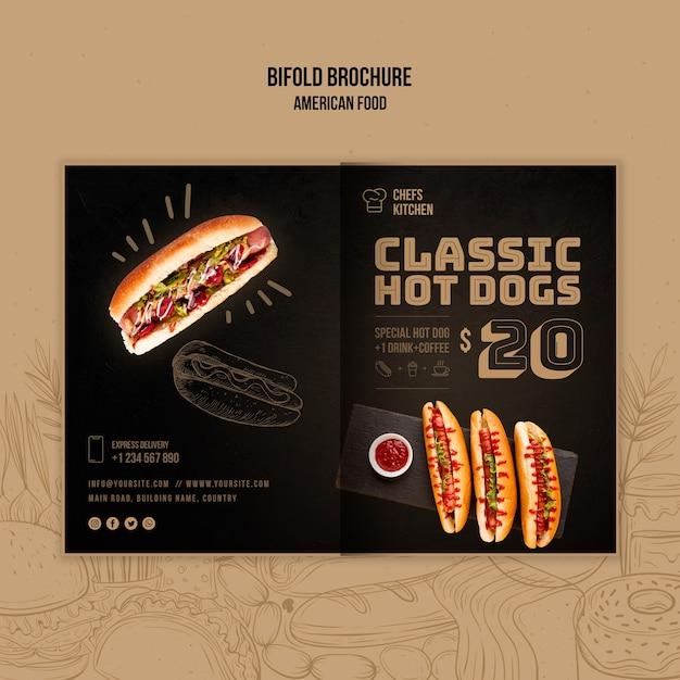 Amerikaanse klassieke hotdogs tweevoudige brochure Gratis Psd