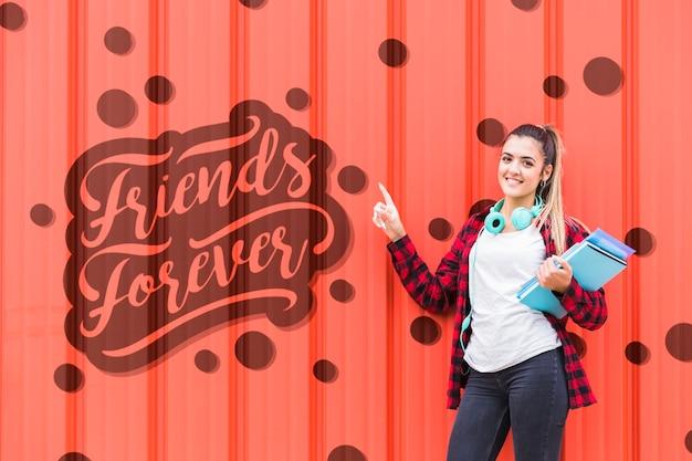 Amici per sempre messaggio sul muro della scuola Psd Gratuite