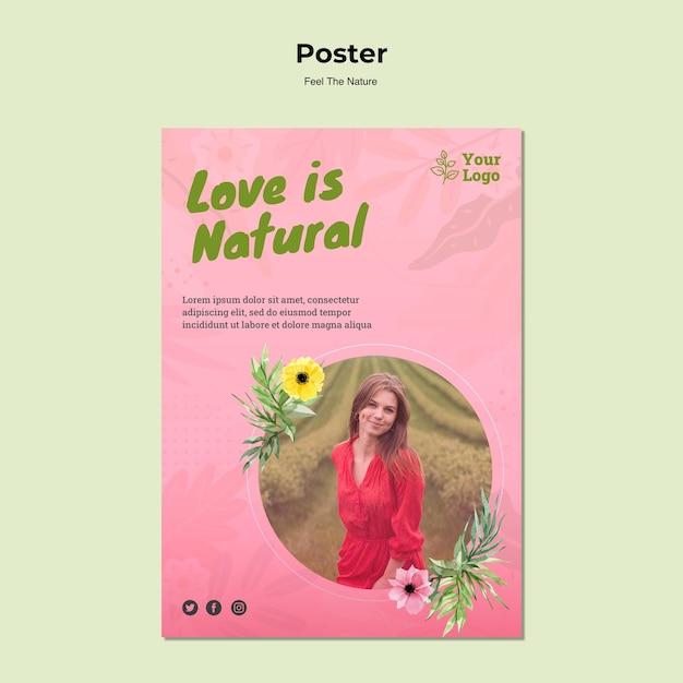 El amor es plantilla de cartel natural PSD gratuito