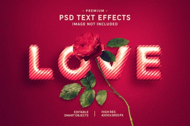 Amor valentine globo efecto de estilo de texto en rojo oscuro PSD Premium