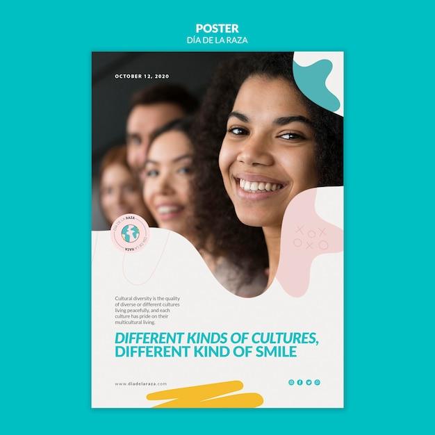 Andere cultuur, dezelfde smile-postersjabloon Gratis Psd