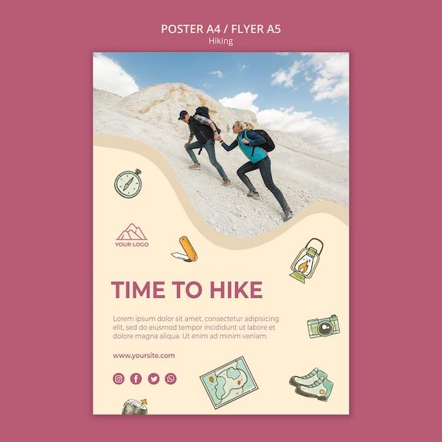 Andiamo a fare escursioni modello di poster Psd Gratuite