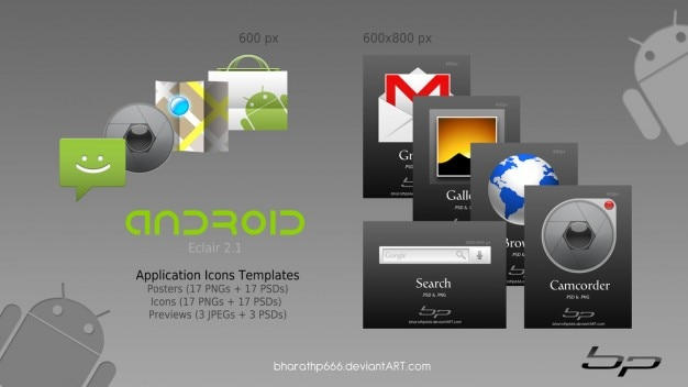 Android icoon sjablonen Gratis Psd