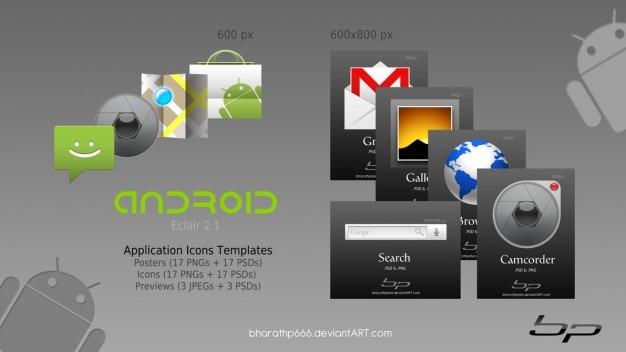 Android sull'icona modelli Psd Gratuite