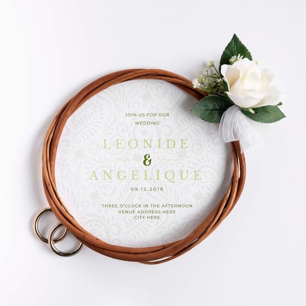 Anelli di fidanzamento con fiore Psd Gratuite