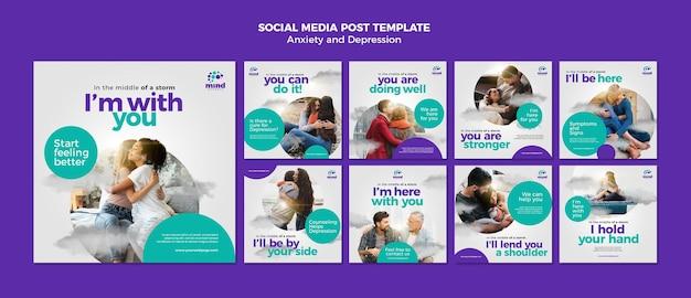 Angst en depressie sociale media postsjabloon Premium Psd