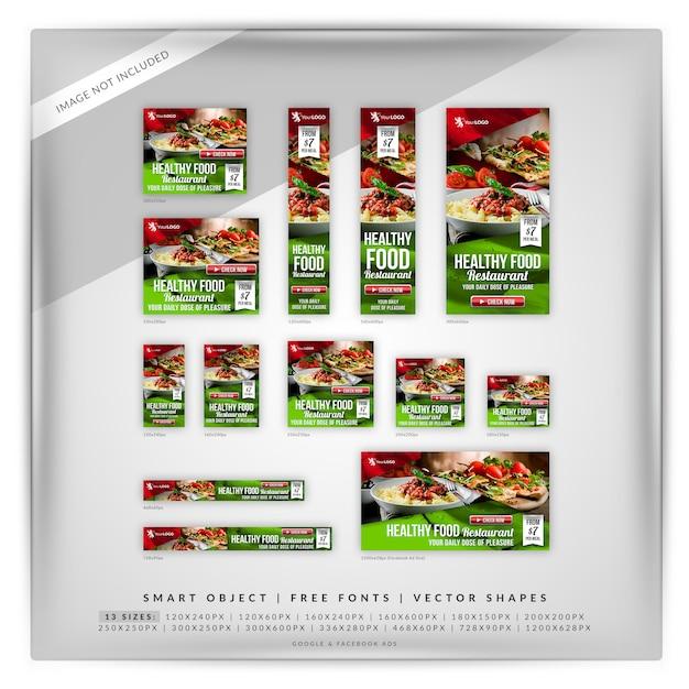 Annunci di google e facebook per il cibo di piacere Psd Premium