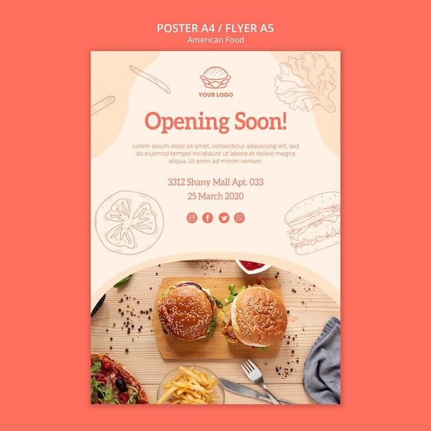 Apertura ristorante design volantino Psd Gratuite