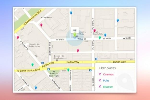 Mapa Plano Con Pin Icono De Puntero De La: Aplicación Google Plantilla Mapas