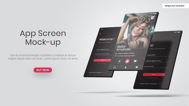 App-telefoonscherm mockup geïsoleerd Premium Psd