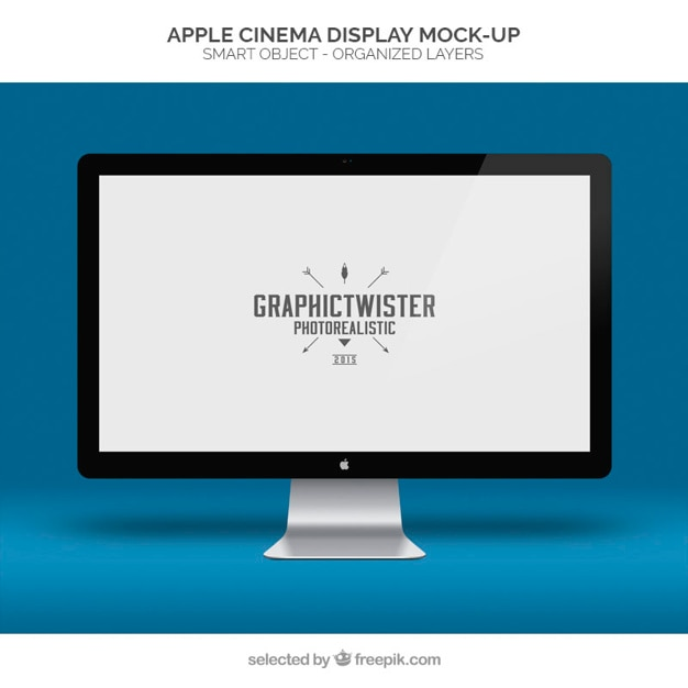 Apple cinema display maqueta Psd Gratis