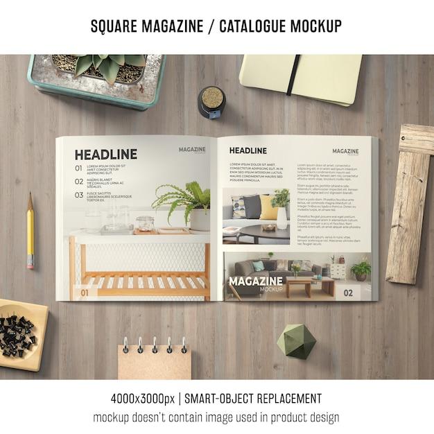 Apri la rivista quadrata o il mockup del catalogo Psd Gratuite