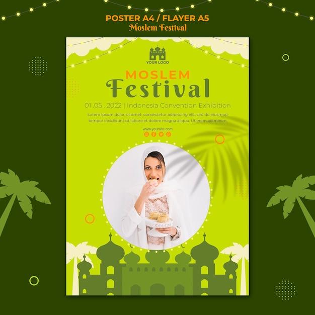 Arabisch moslimfestival poster afdruksjabloon Gratis Psd