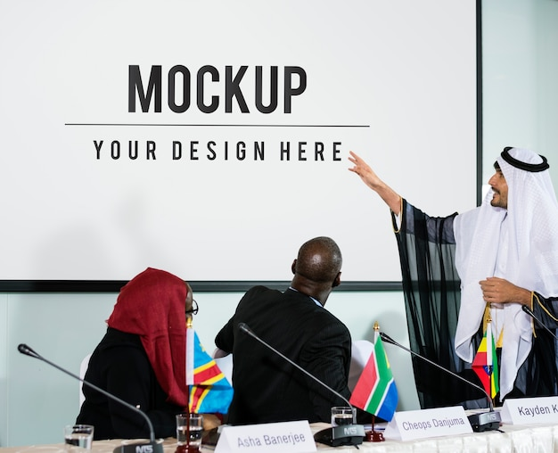Arabische uitleg spreker presentatie conferentie partnerschap Gratis Psd