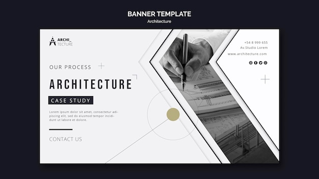 Architectuur concept sjabloon voor spandoek Gratis Psd