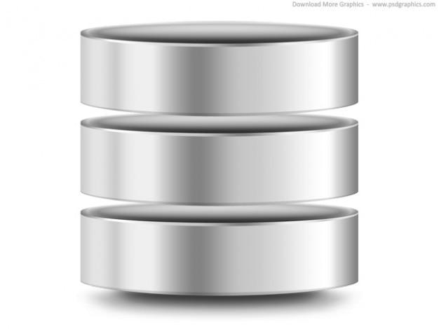 Argento computer del database icona (psd) Psd Gratuite