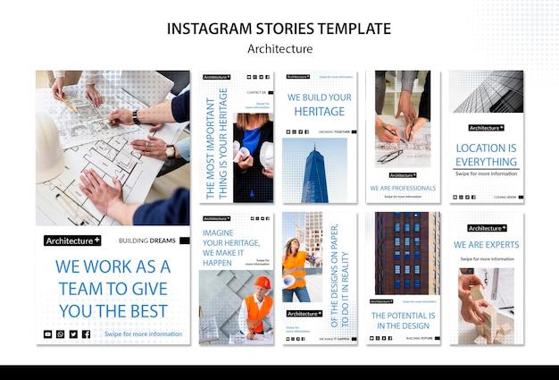 Arhitecture concept instagram verhalen sjabloon Gratis Psd