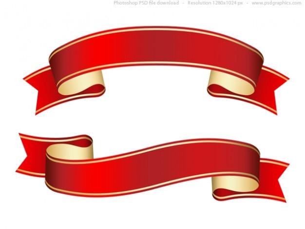 Arricciati nastro rosso (banner), modello di psd Psd Gratuite