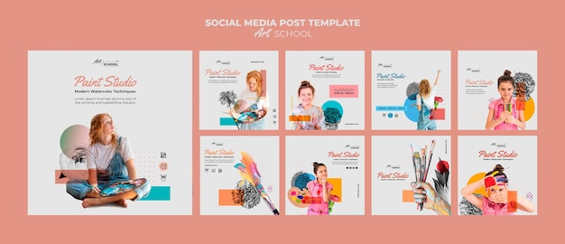 Art school posts sjabloon Gratis Psd
