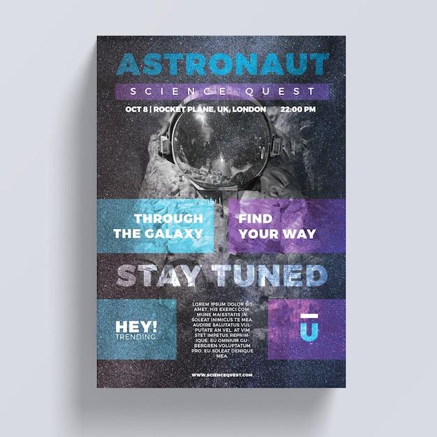 Astronaut flyer sjabloon Gratis Psd