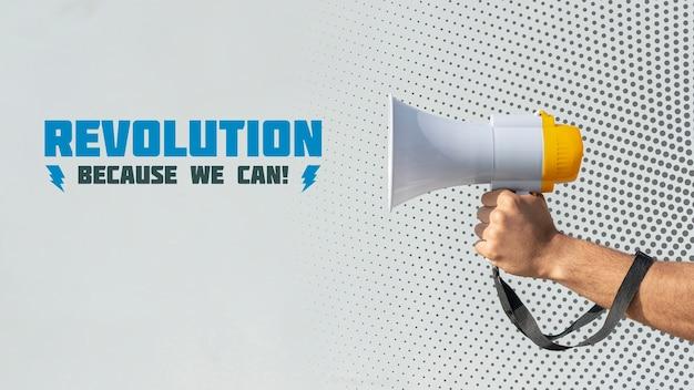 Attivista che tiene il megafono Psd Gratuite