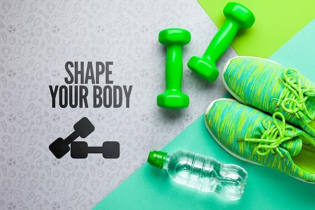 Attrezzature per lezioni di fitness e borraccia Psd Gratuite