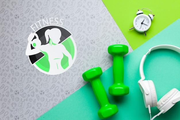 Auriculares de fitness y medición de tiempo. PSD gratuito