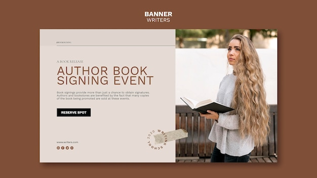 Auteur boek ondertekening evenement sjabloon voor spandoek Gratis Psd
