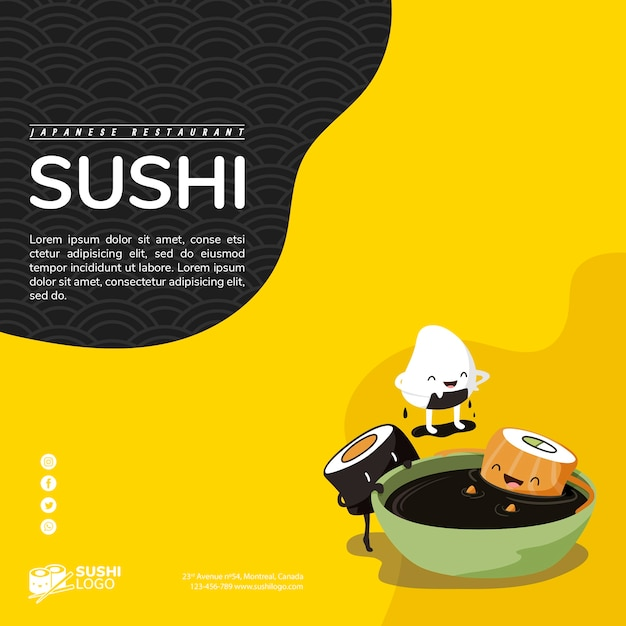 Aziatisch sushirestaurant vierkante bannermalplaatje Gratis Psd