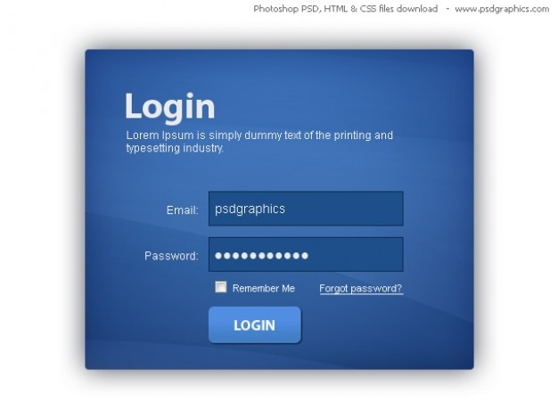Azul caixa de login html e css com template psd for Php login templates free download