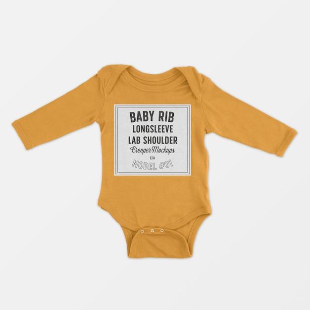 Baby rib longsleeve lap schouder klimplant mockup Gratis Psd
