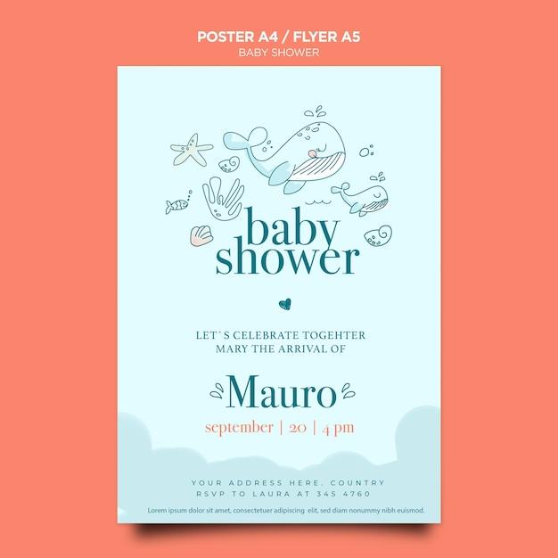 Baby shower viering poster sjabloon Gratis Psd