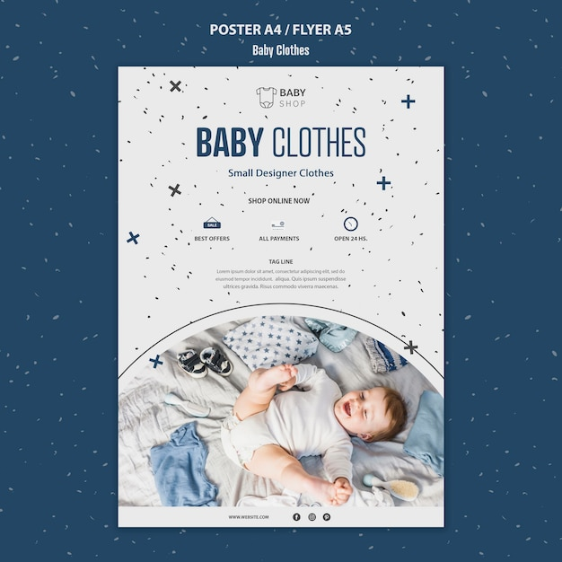 Babykleding sjabloon poster Gratis Psd