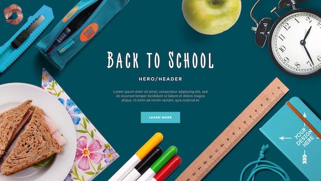 Back to school hero header aangepaste scène Premium Psd