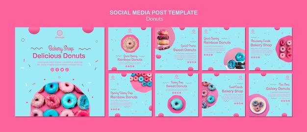Bakkerij donuts winkel social media post Gratis Psd