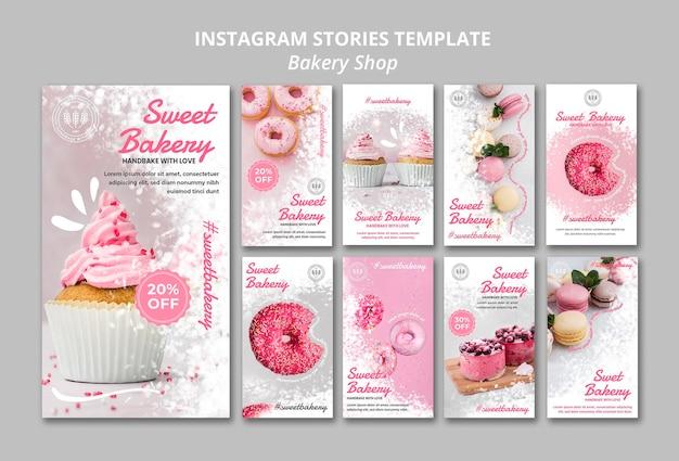 Bakkerij winkel instagram-verhalen Gratis Psd