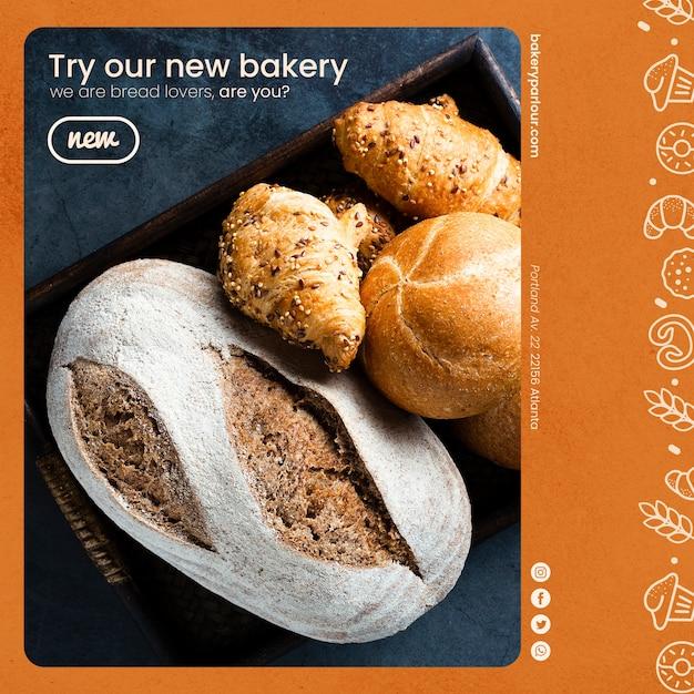 Bakkerijproducten sjabloon voor promotie Gratis Psd