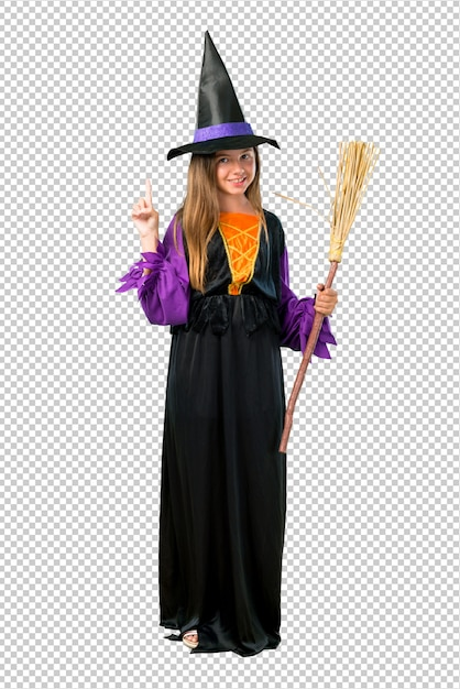 Bambina vestita da strega per le feste di halloween contando il numero uno segno Psd Premium