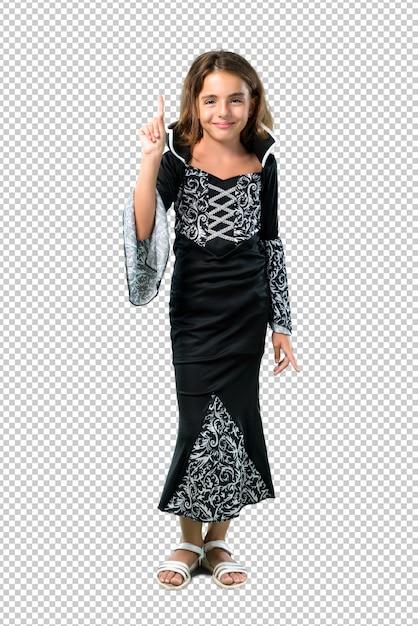 Bambina vestita da vampiro per le feste di halloween contando il numero uno segno Psd Premium