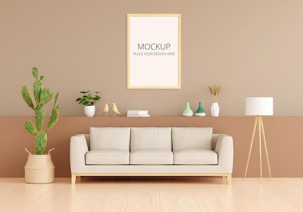 Bank in bruin woonkamerinterieur met vrije ruimte met framemodel Premium Psd
