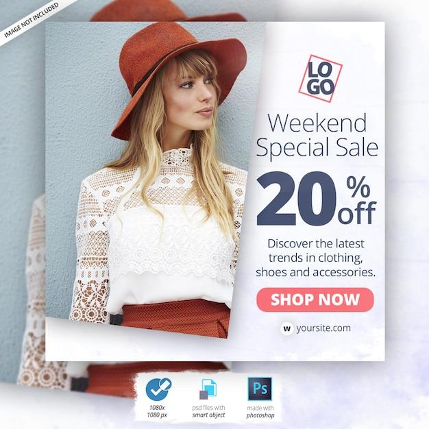 Banner de anuncios de moda de instagram PSD Premium