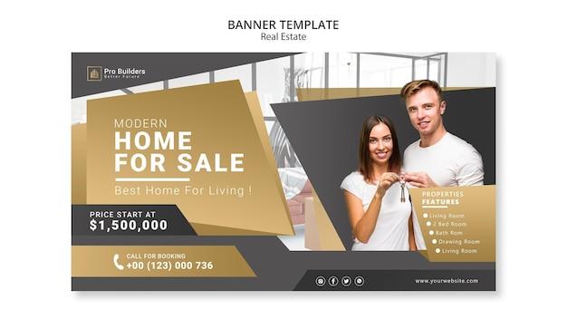 Banner de bienes raíces PSD gratuito