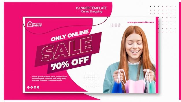 Banner de compras en línea PSD Premium