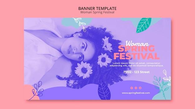 Banner con concepto de festival de primavera de mujer PSD gratuito