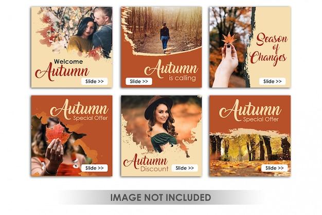 Banner cuadrado o publicación de instagram con tema de ventas de otoño PSD Premium