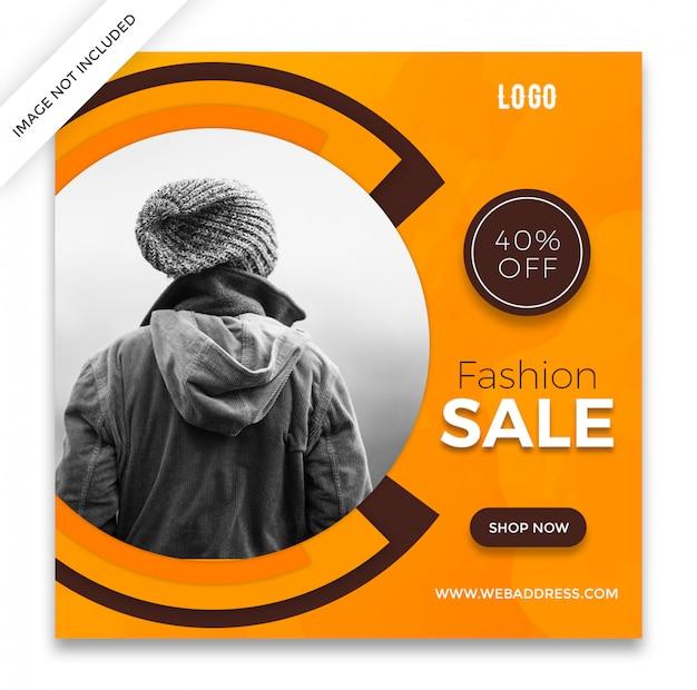 Banner cuadrado de venta de moda o diseño de plantilla de publicación de instagram PSD Premium