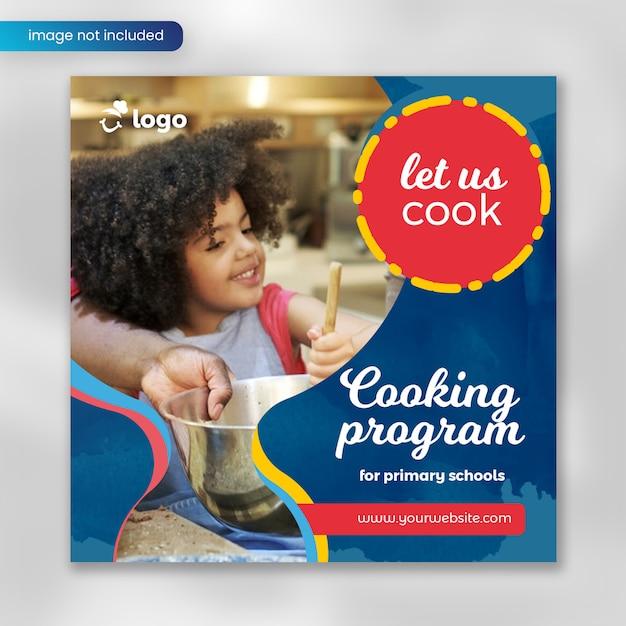 Banner del programma di cucina per i social media Psd Premium
